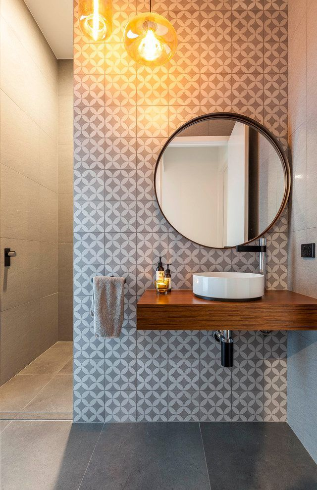 Sonoma Artisan Tile Powder Room Contemporary With Modern Pendant