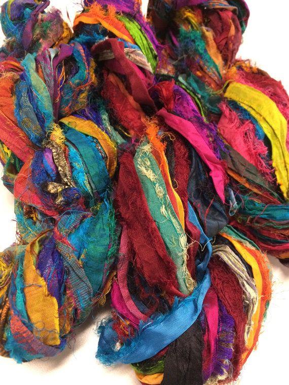 10 yards Recycled Sari Silk Ribbon Yarn Yellow for tassels,embellishment
