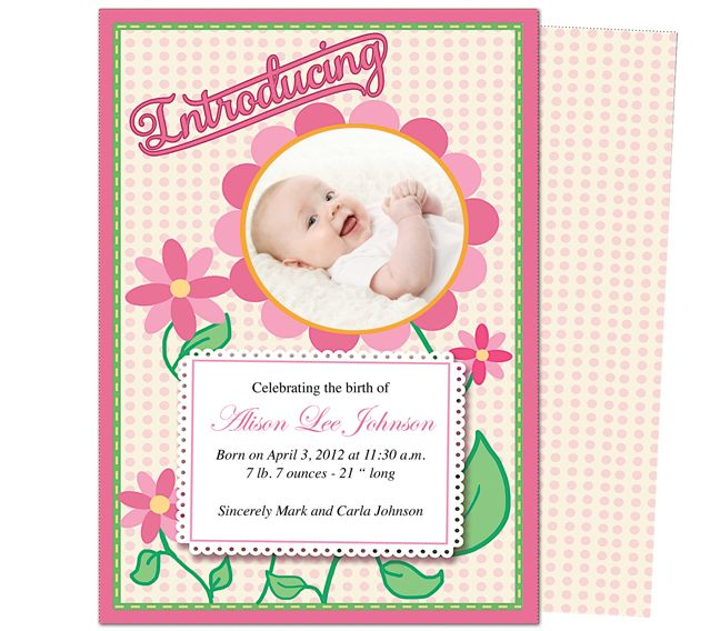 Birth announcements template daisy baby birth for Online baby announcement templates