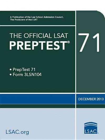 The Official Lsat Preptest 71 December 2013 Products Pinterest - new blueprint lsat games