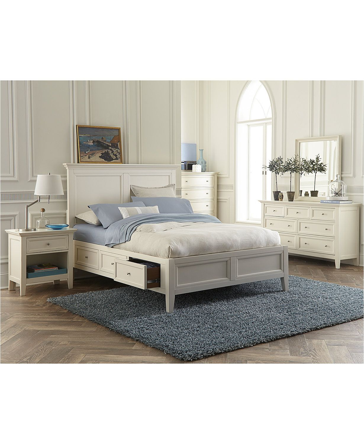 Furniture Sanibel Storage Bedroom Furniture 3 Pc Set Queen Bed Nightstand And Dresser Created For Macy S Reviews Furniture Macy S In 2020 White Bedroom Furniture For Adults Storage Furniture Bedroom White Bedroom Furniture