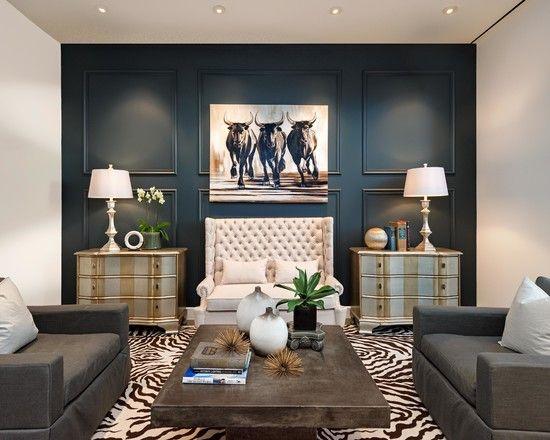 Living Room Animal Print Rug Cow Art Navy Wall Wood Coffee Table Dettaglio Interior Design