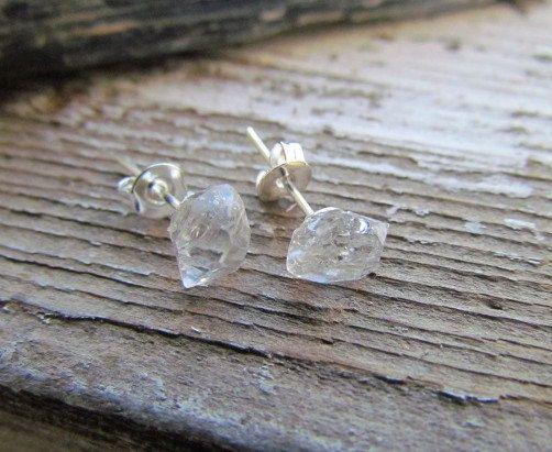 Tiffany Raw Herkimer Diamond Gemstone Crystal Stud Earrings Sterling Silver April Birthstone Glam Master Healing Energy Large