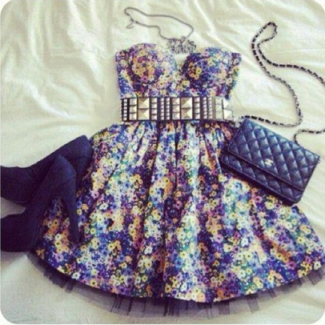 Studded belt & dress :) super cute!!