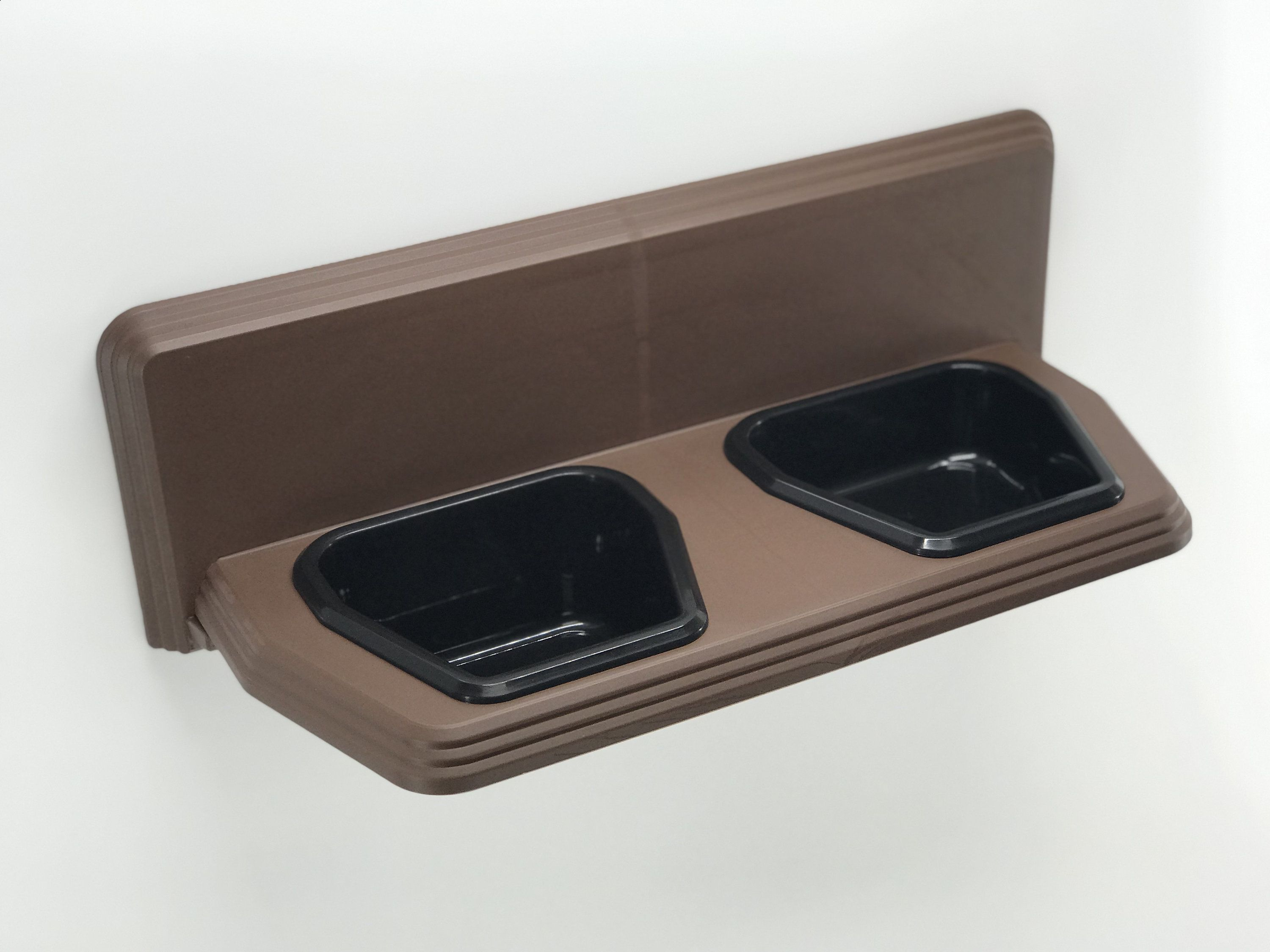 Raised Bowls- Dog Bowls Wall Mounted Small Pet Dish Set Cat Bowls- Brown and Pink 4 /& 2 Cup Elevated Feeder Kitchen Dog
