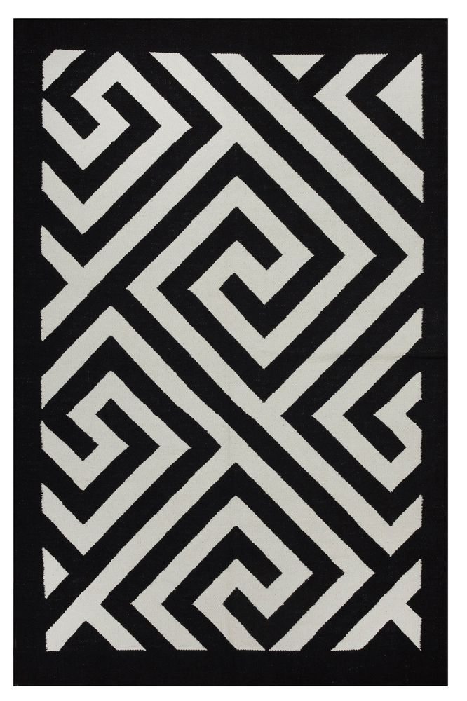Fab Habitat Hand Woven Recycled Cotton Flatweave Rug Broadway Black White Geometrisch Patroon Patronen Broadway