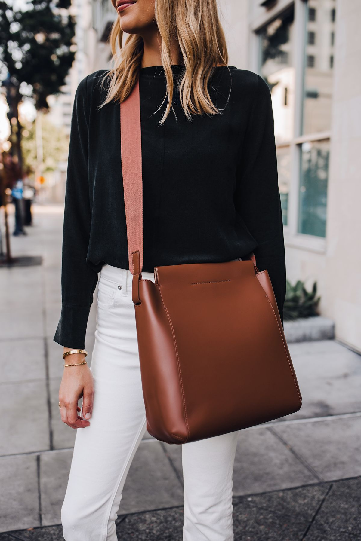f3898dd062621 Blonde Woman Wearing Everlane Form Bag Brown Messenger Handbag Everlane  Black Silk Long Sleeve Top Everlane White Jeans Fashion Jackson San Diego  Fashion ...