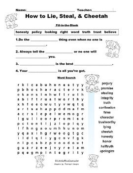 how to lie steal and cheetah word search and fill in the blank worksheet worksheets word. Black Bedroom Furniture Sets. Home Design Ideas