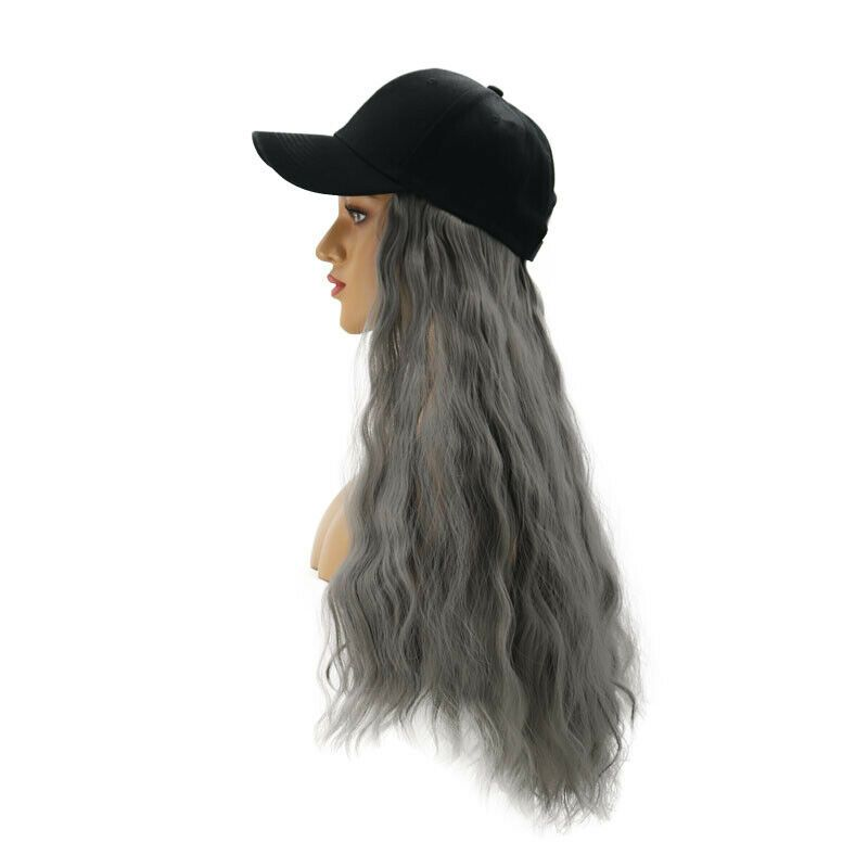 Baseball Cap Hat Wig Long Wavy Curly Synthetic Hair Hairpiece Wigs Women Fashion Hair Pieces Synthetic Hair Wigs