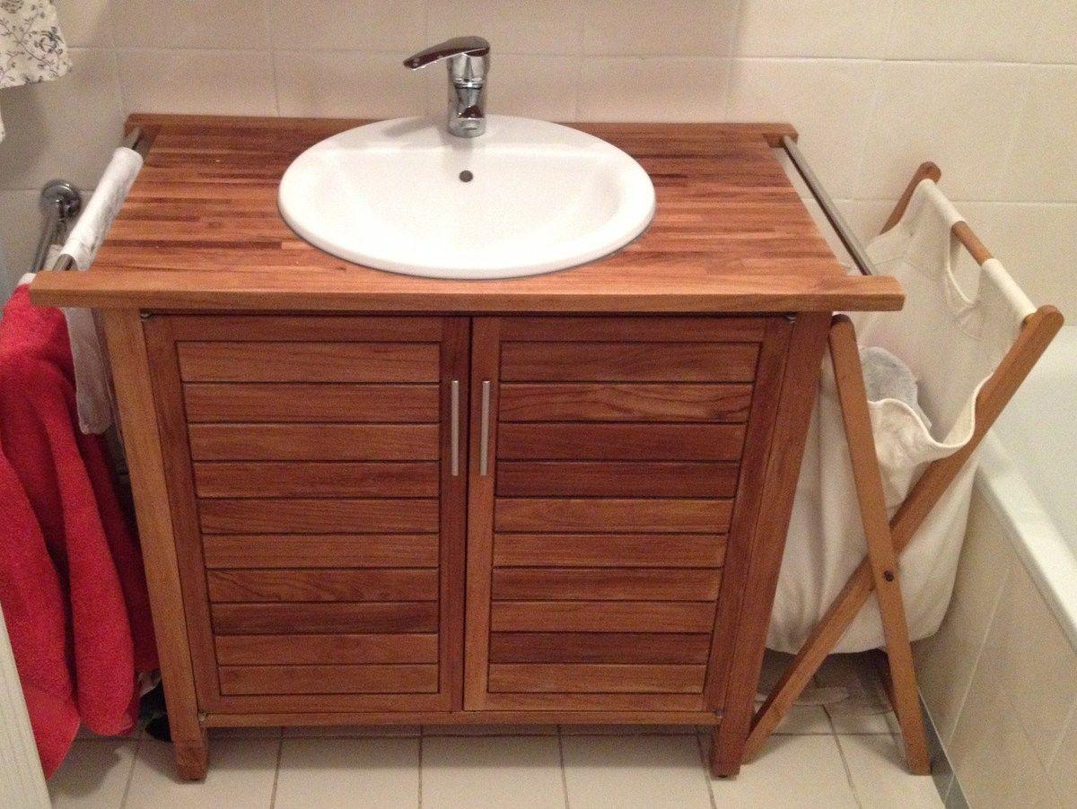je vais faire une salle de bains alors je cherche un joli meuble sous vasque en teck ou blanc pas trop cher de style nature mat en bois ou blanc mat - Meuble Sous Vasque Salle De Bain Leroy Merlin