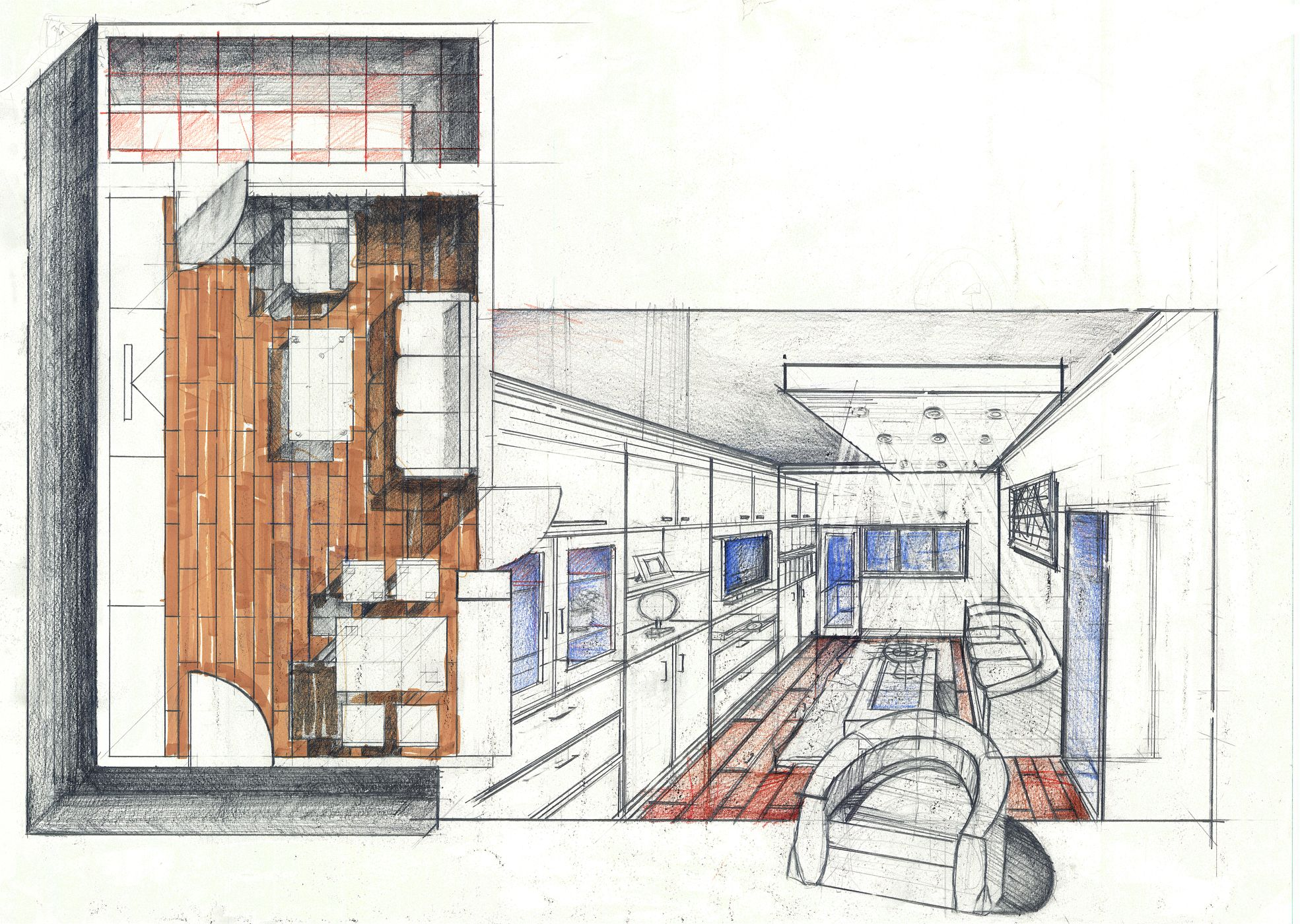 Living Room Perspective. Good foreground and perspective depth. Pencil + Colored Crayons + Marker on 50x70 Standard Paper, 5 Hours Completion Time #architecture #architect #rendering