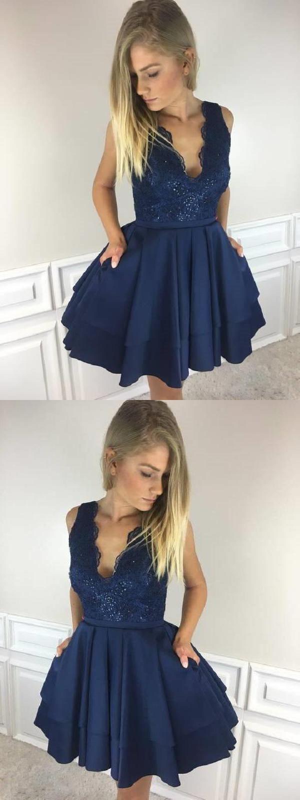 Aline short v neck dark blue seve homecoming dresses