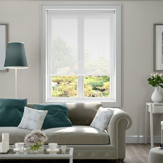 Serenity Cloud White Voile Roller Blind Living Room