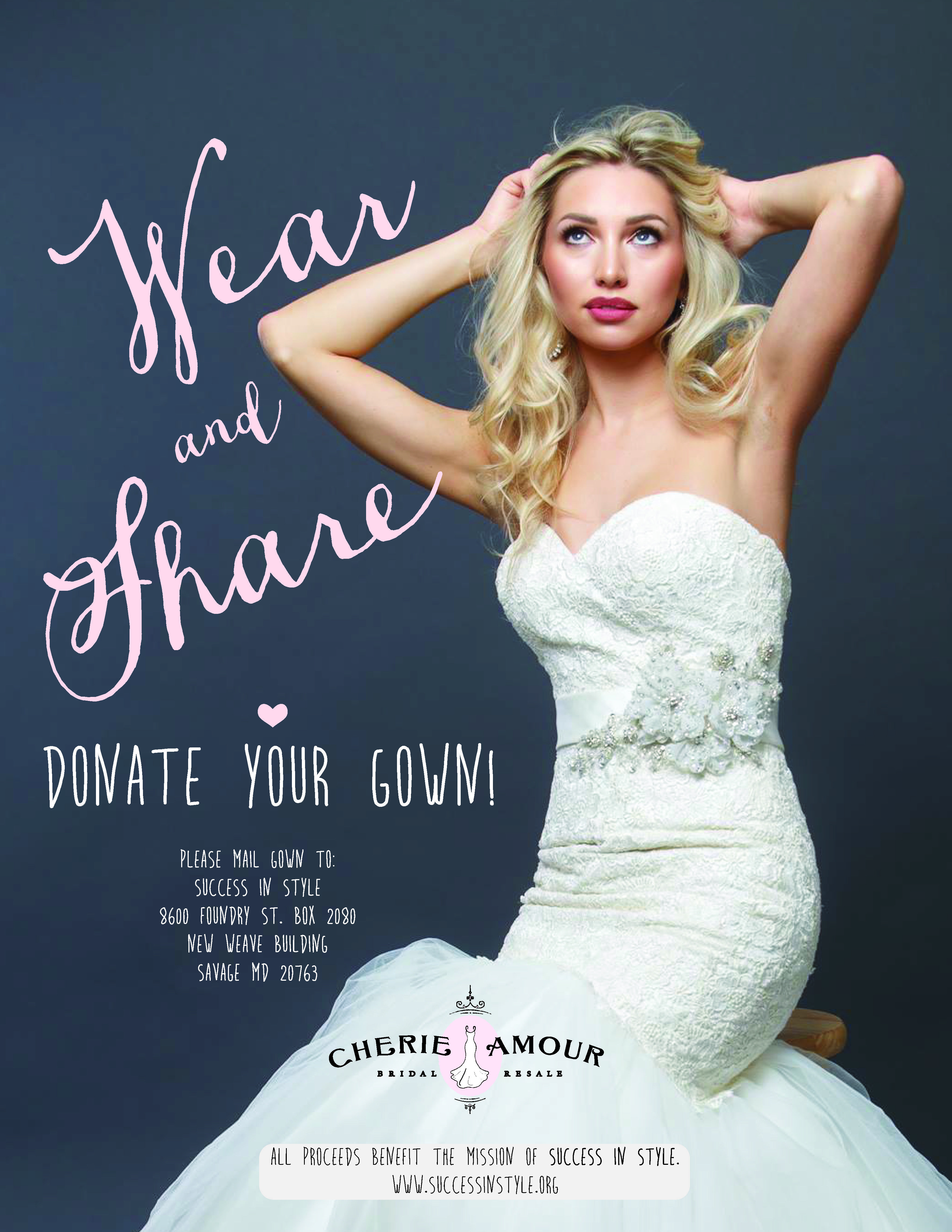 Amazing Donate your wedding dress Cherie Amour Bridal Resale donatethedress What to do with wedding dress
