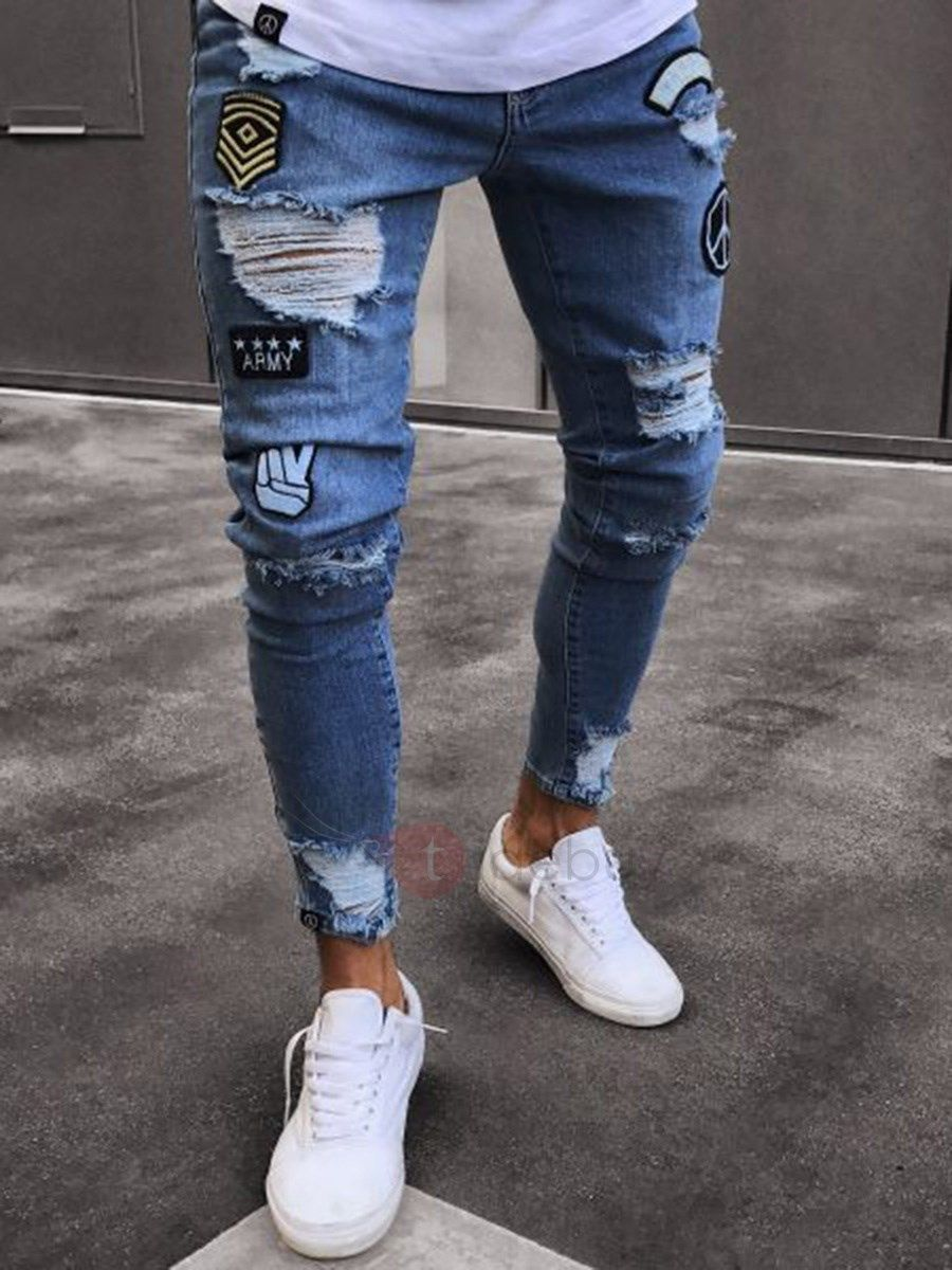 49552a2d1 Pantalon Homme en Jeans Troué Badges Imprimé Slim Code Article:13210972  Prix Tidebuy:EUR € 24,40