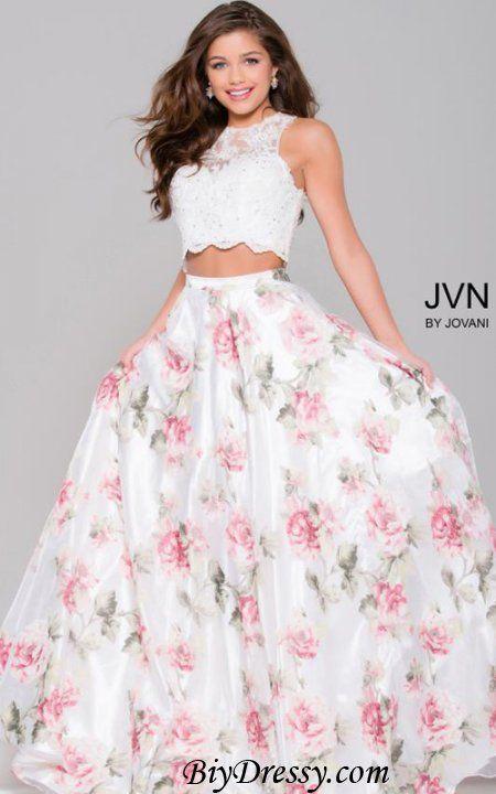 Jovani 41771 Floral Ivory Two Piece Organza Lace Prom Dress | Galaxy ...