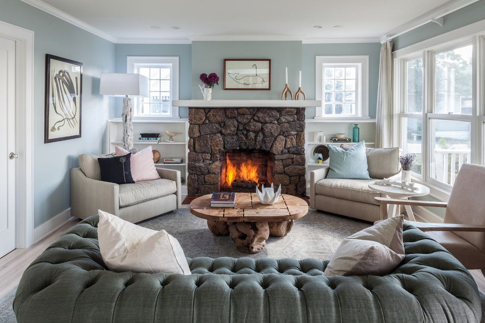 Cute Living Room Ideas For A Transitional Living Room With A Light Blue  Walls And Beach