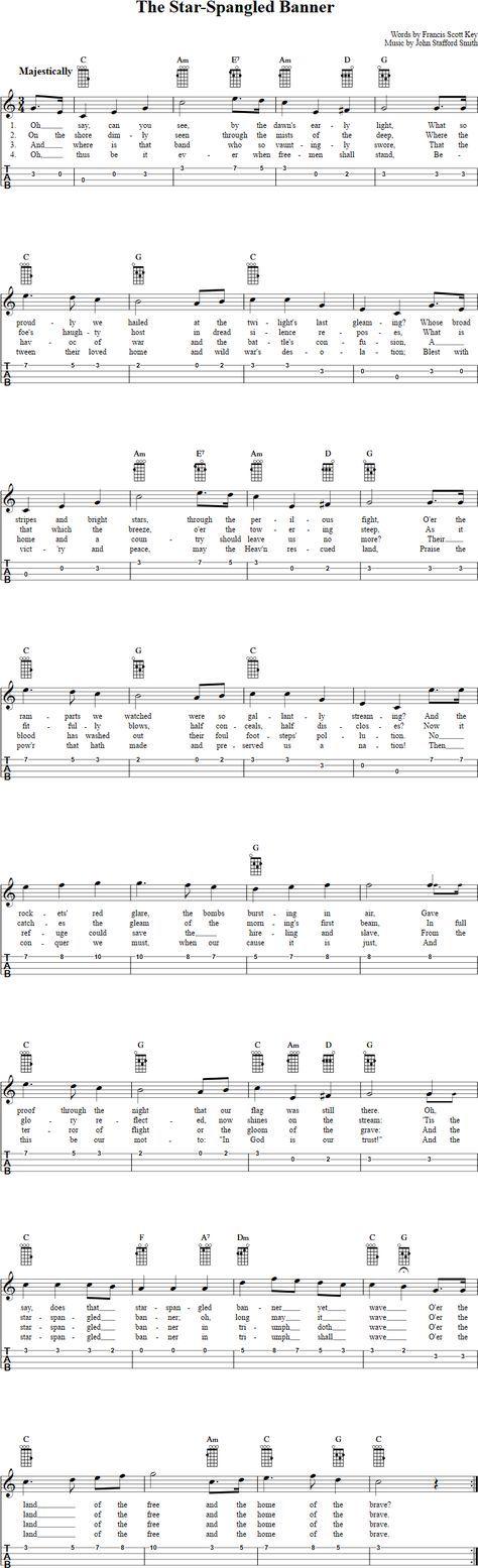 The Star Spangled Banner Ukulele Tab Ukulele Music Pinterest