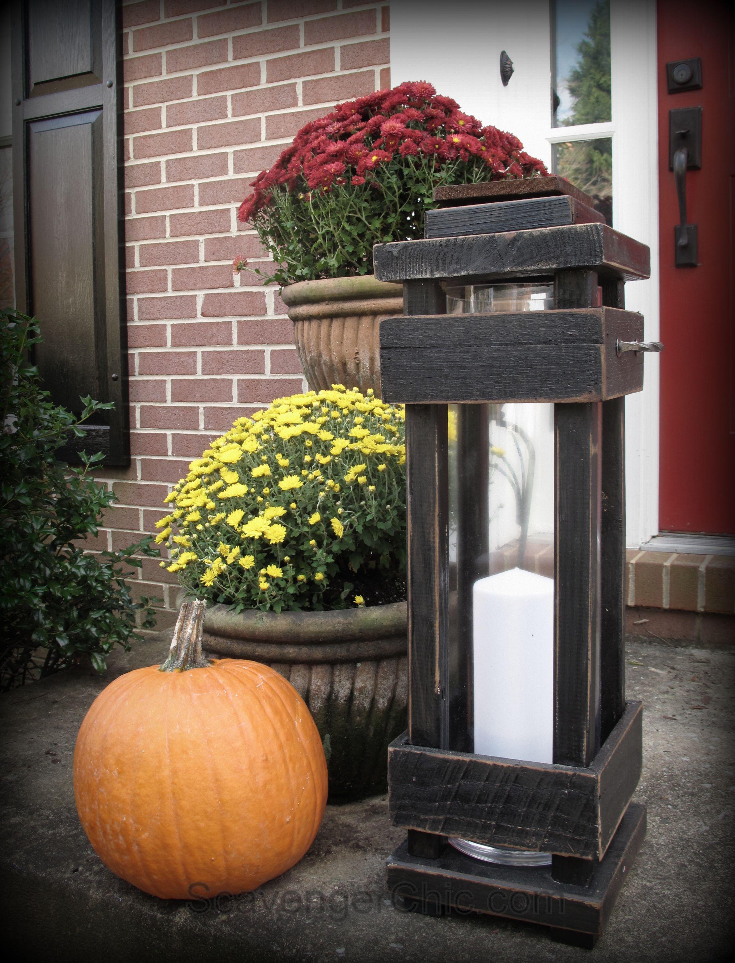 Diy outdoor porch lanterns scavenger chic decorating for Wooden garden lanterns
