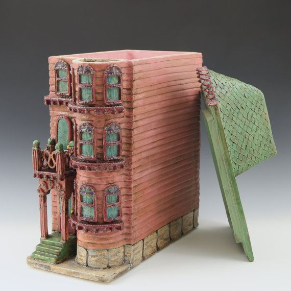 Pink & Green Row House // San Francisco Row House // Architectural Sculpture //Canister// Ceramic Sculpture// House// California //Row House