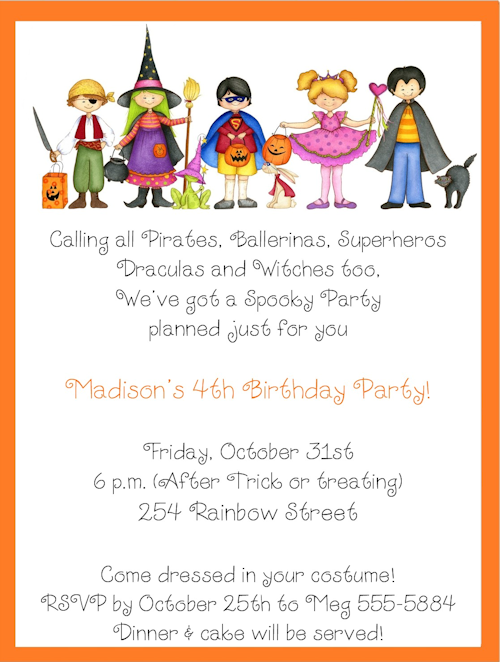 Halloween Birthday Invitations For Kids Costume Kids Halloween - Birthday party invitation reply wording