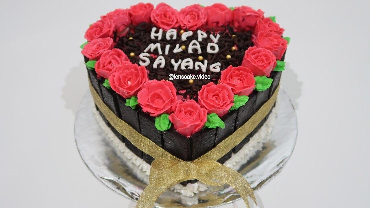 How To Make Birthday Cake Heart Love Easy Cara Membuat Kue