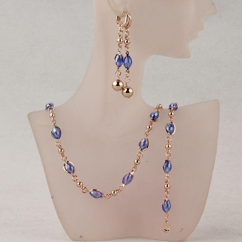 fcf634d58 Módní Crystal Africké korálky šperky Soupravy Gold Color Svatba Svatební  šperky Soupravy Ženy Náhrdelník Náušnice Náramky Šperky-in šperky sady z  šperky a ...