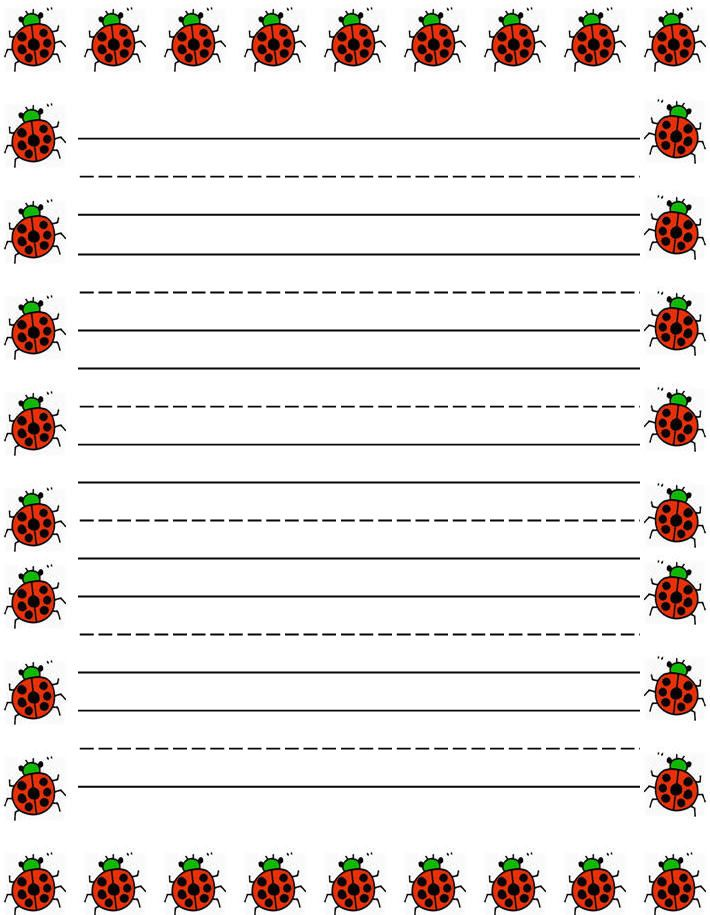 Ladybugs Border Free Printable Kids Stationery, Free Printable Writing Paper  For Kids, Primary Lined  Free Printable Lined Writing Paper
