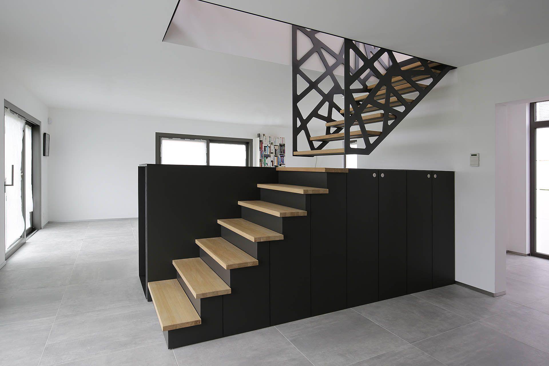 yves denayer stairs escaliers maison meuble tv bois metal et placard sous escalier