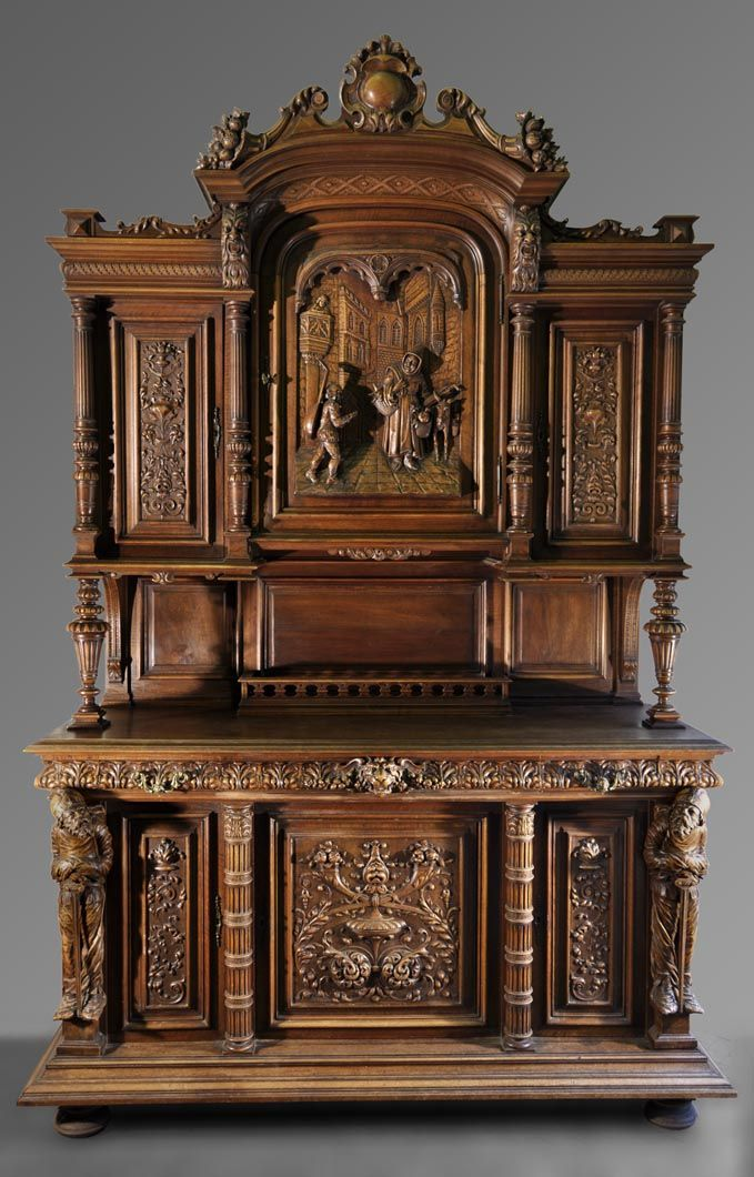 buffet et desserte de style n o renaissance en noyer sculpt d cor de personnages en ronde. Black Bedroom Furniture Sets. Home Design Ideas