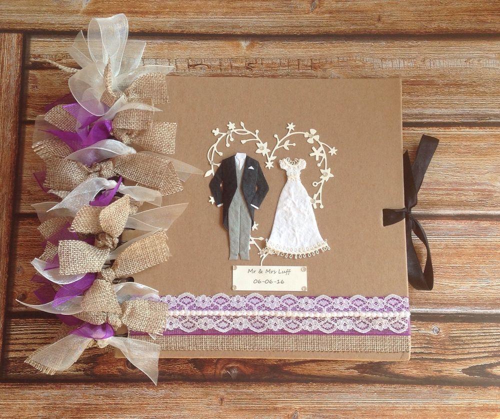 Personalised guestbook photo album in cadbury purple