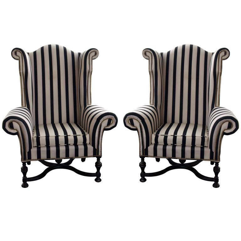 Attractive A Pair Of Mammoth Size Wing Chairs | 1stdibs.com