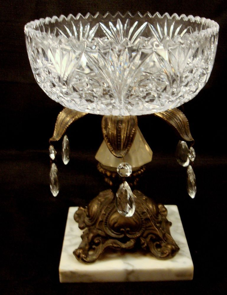 Vintage crystal compote centerpiece bowl with prisms