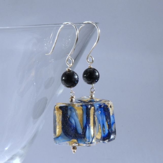 Navy and gold murano glass square sterling silver earrings £25.00