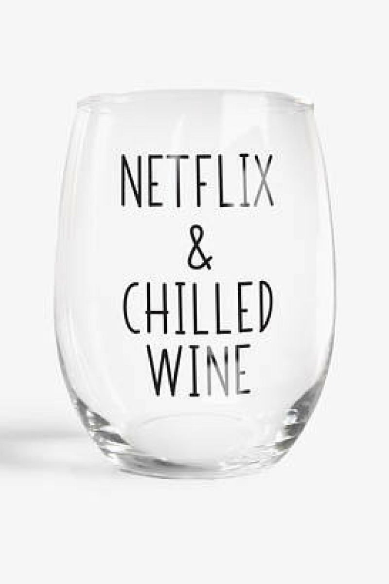 Netflix Chilled Wine Stemless Wine Glass Funny Gift Funny Wine Glasses Funny Wine Sayings Wine Gifts Offensive Funny Wine Glasses Wine Quotes Wine Humor
