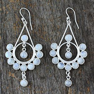 NOVICA Moonstone .925 Sterling Silver Chandelier Earrings 'Circles'