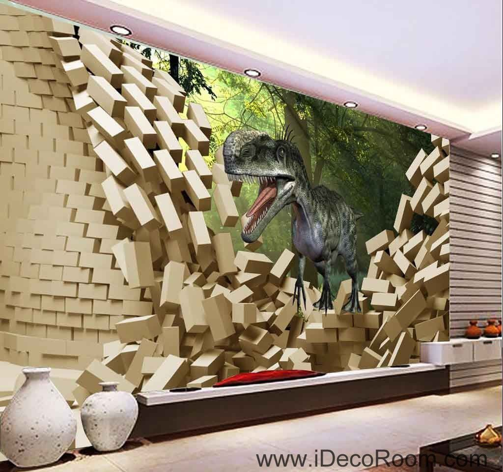 3d Dinosaur Break Wall Tree Wallpaper Wall Art Print Mural Home