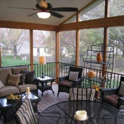 This gable roof screened porch has an opened screened gable for extra light and air. The floor is made of AZEK synthetic decking for a low maintenance and very long lasting solution.