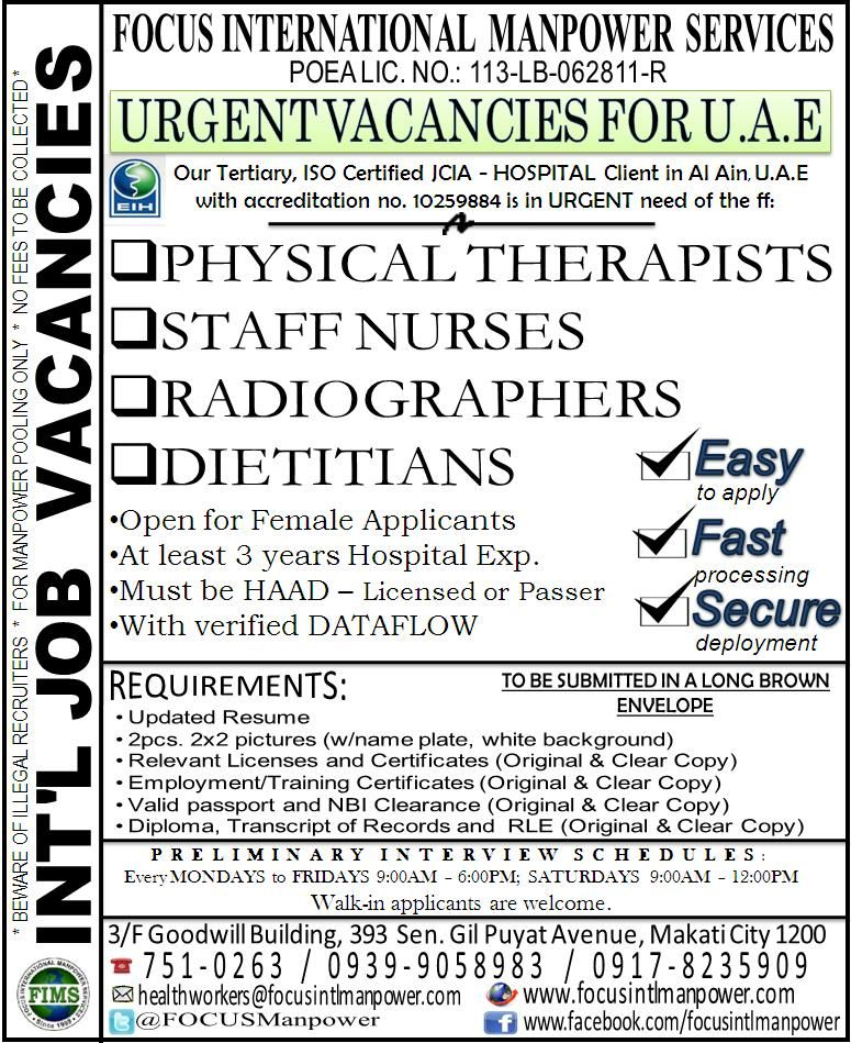 Urgent Vacancies for Female Radiographers bound for Bahrain and - radiographer resume