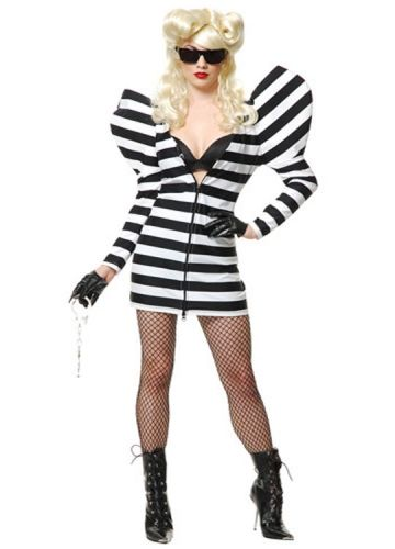 Lady Gaga Striped Gown Halloween Costume Sexy, Cute halloween