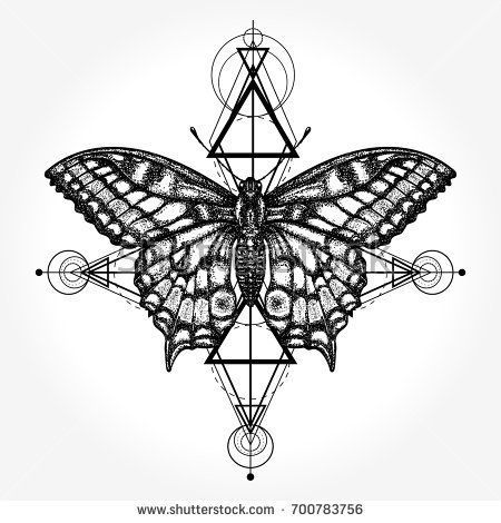 Butterfly Tattoo Geometrical Style Mystical Symbol Of Freedom