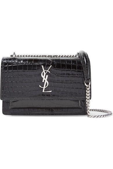 2edf11e236 SAINT LAURENT Sunset Wallet Croc-Effect Patent-Leather Shoulder Bag.   saintlaurent  shoulder bags