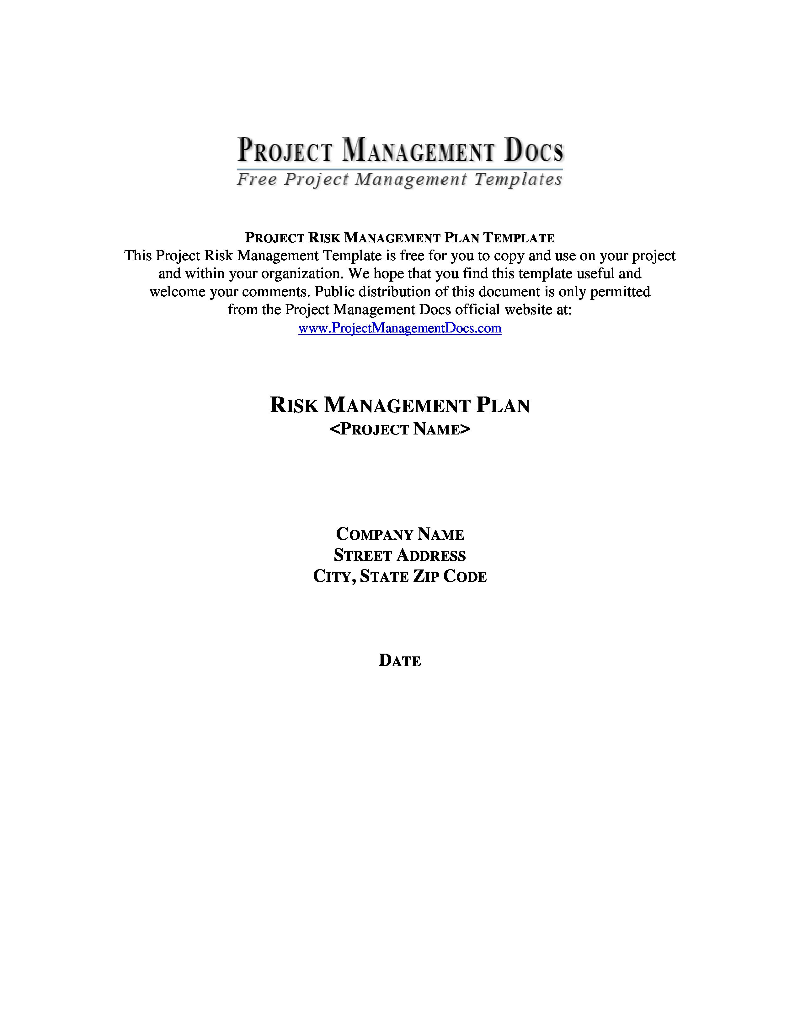 Risk Management Plan Template Pmbok Project Risk Management Plan
