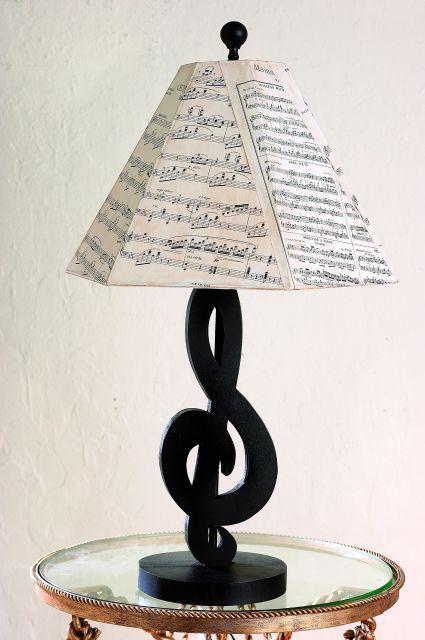 Black Treble Clef Table Lamp Sheet Music Shade