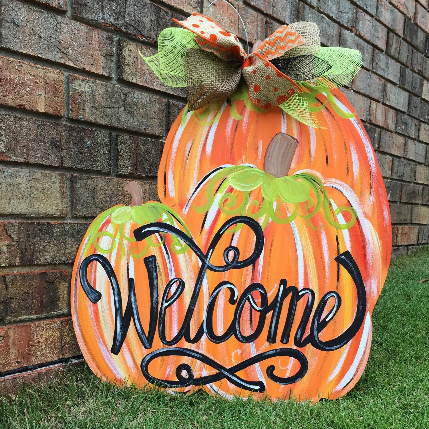 Pumpkin door hanger fall door hanger welcome door hanger Fall outdoor decorating with pumpkins