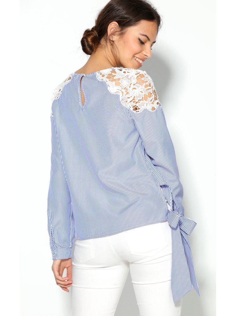 690f23a16146c Esta elegante blusa para mujer con bandas en el bajo para lazar mezcla  rayas y guipur de manera magistral. Blusa de escote redondeado con abertura  lágrima ...