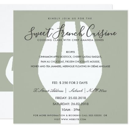 Grey spoon fork cooking class invite template - invitation information template