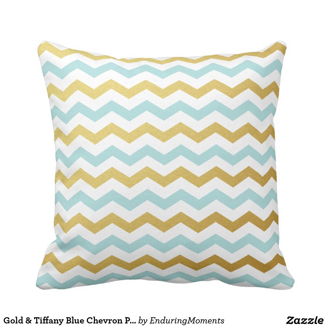 Decorative Pillows In Tiffany Blue : Gold & Tiffany Blue Chevron Pattern Throw Pillows