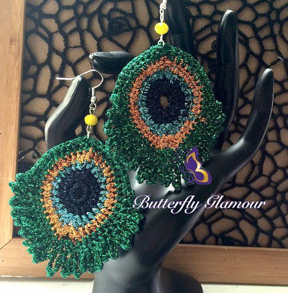 Crochet Burmese Peacock Earrings, Stunning Handmade Crochet Earrings, Sparkles,
