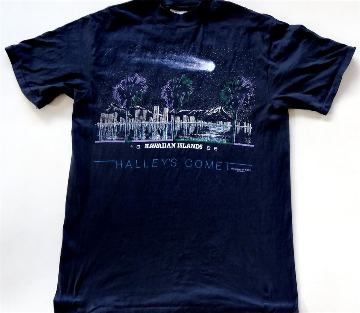Black t shirt ebay - Evintage M S 1986 Halley S Comet Hawaiian Islands T Shirt Ebay